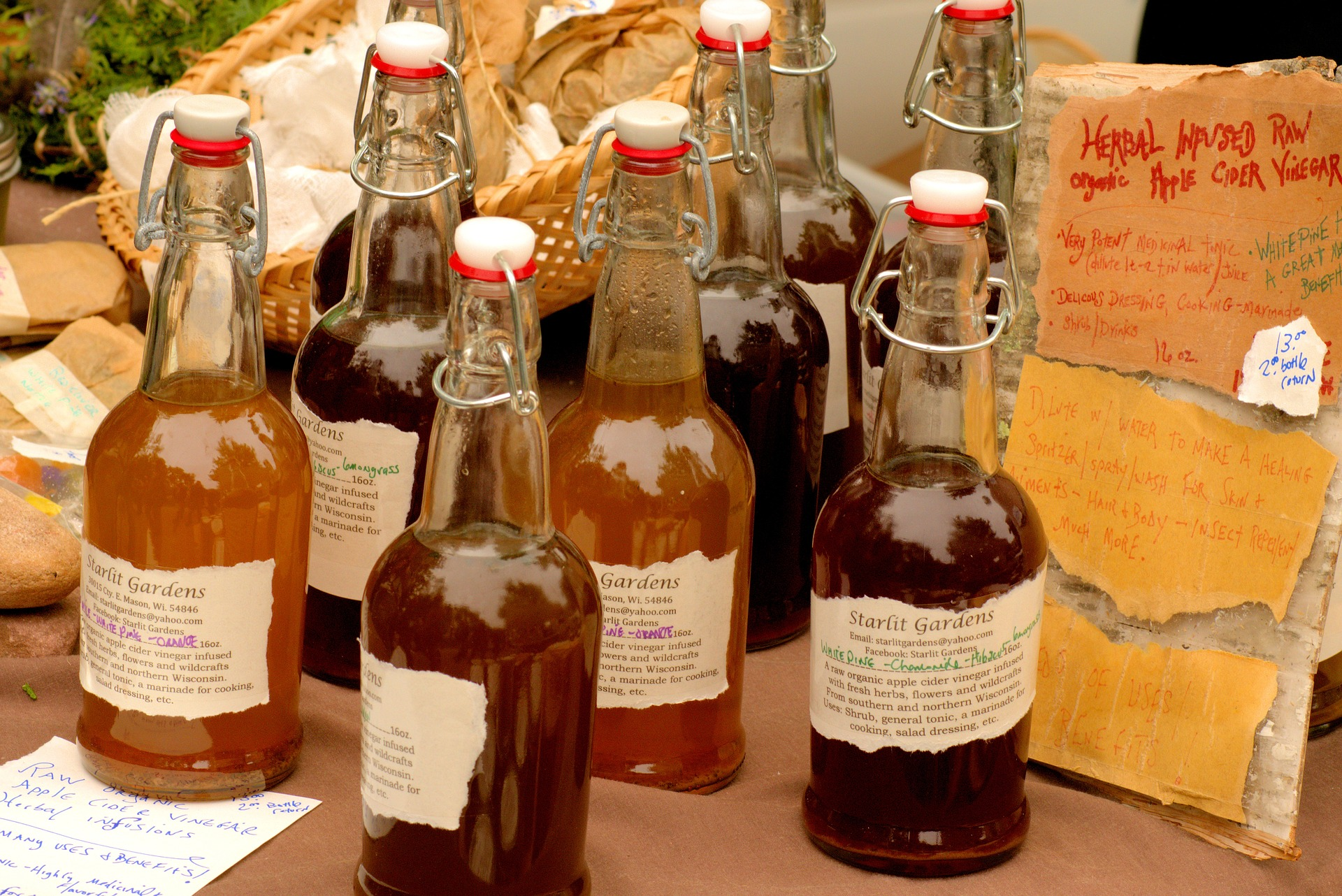 Marinades in glass bottles