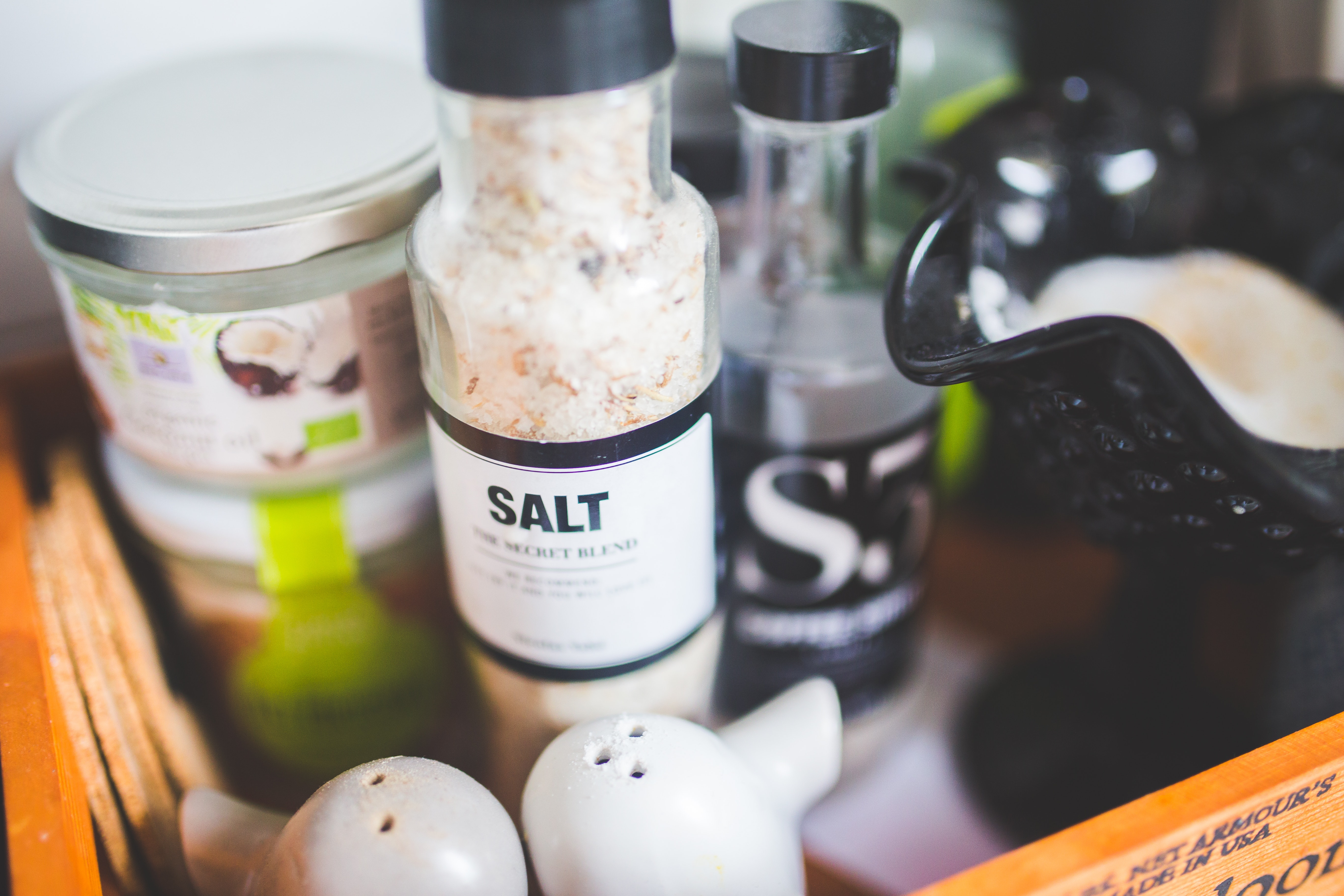 Bottle of Salt and other condiments