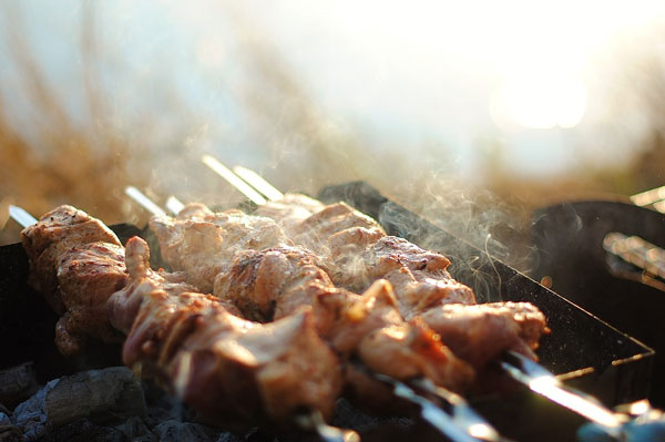 Grilled shish kebab on metal skewer